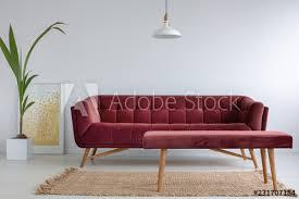 velvet burgundy in bright living room interior with