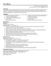 Child Development Resume Example For Nanny Job Position Featuring Six Years Experience In Childcare Center Director