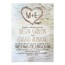 Birch Tree Heart Rustic Wedding Invitation Card