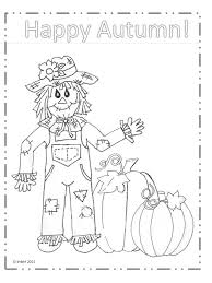 Happy Autumn Scarecrow Coloring Page