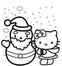 Hello Kitty Winter Themed Coloring Pages