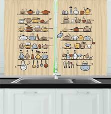 Ambesonne Kitchen Decor Collection Kitchenware And Utensils Appliances Ornaments Spice Rack Vintage Retro Style Cafe Design Window Treatments For