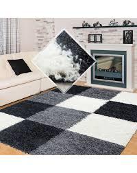 hochflor langflor wohnzimmer shaggy teppich kariert schwarz weiss grau größe 60x110 cm