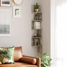 vasagle eckregal wandregal mit 5 ablagen schweberegal für küche schlafzimmer wohnzimmer arbeitszimmer büro greige songmics lbc020m01