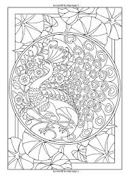Free Coloring Page Adult Art Nouveau Style Peacock The
