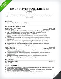 Free Resume Examples For Truck Drivers Feat Driver Sample To Frame Inspiring