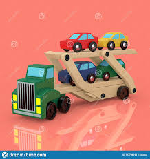 100 Toy Car Carrier Truck Wooden Coloured S Rier Trailer 3d Rendering