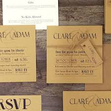 Rustic Vintage Wedding Invitations On Brown Card With Old Twine Wraps