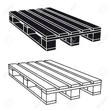 Wooden Pallet Black Symbol Vector Stock