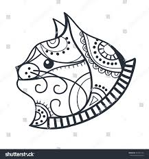 Cat Coloring Book Head For Adults Page Cats