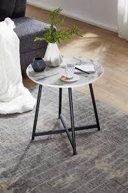 beistelltisch rund 50 x 50 cm mit marmor optik weiß wohnzimmertisch mit metall moderner dekotisch kleiner couchtisch