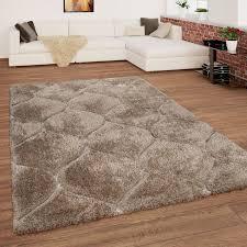 teppich wohnzimmer beige braun hochflor shaggy weich
