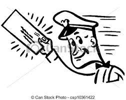 A Black And White Version A Postal Worker Delivering Mail Stock Illustration