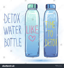 Detox Water Bottle Organic Drinks Lovely Colorful Vector Illustration Healthy Lifestyle Raw