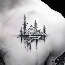 Mountain With Nature Landscape Awesome Small Male Chest Tattoo TattooIdeasMale