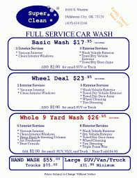 Super Clean Full Service Car Wash - Car Wash Menu Get A Fabulous Car Wash Freddys 702 9335374 Home Innout Express North Hollywood Ca Detailing Inexterior Ldon Road Services Prices Poconos Auto Service Price Menu Yelp At Jax Kar Truck Semitruck Onsite Oryans Monticello Car Wash Prices Pinterest