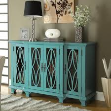 Teal Blue Four Door Accent Cabinet