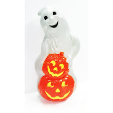 Halloween Chasing Ghosts Projector Light by United Solutions 31 In Ghost With 2 Pumpkins Up0078 The Home Depot