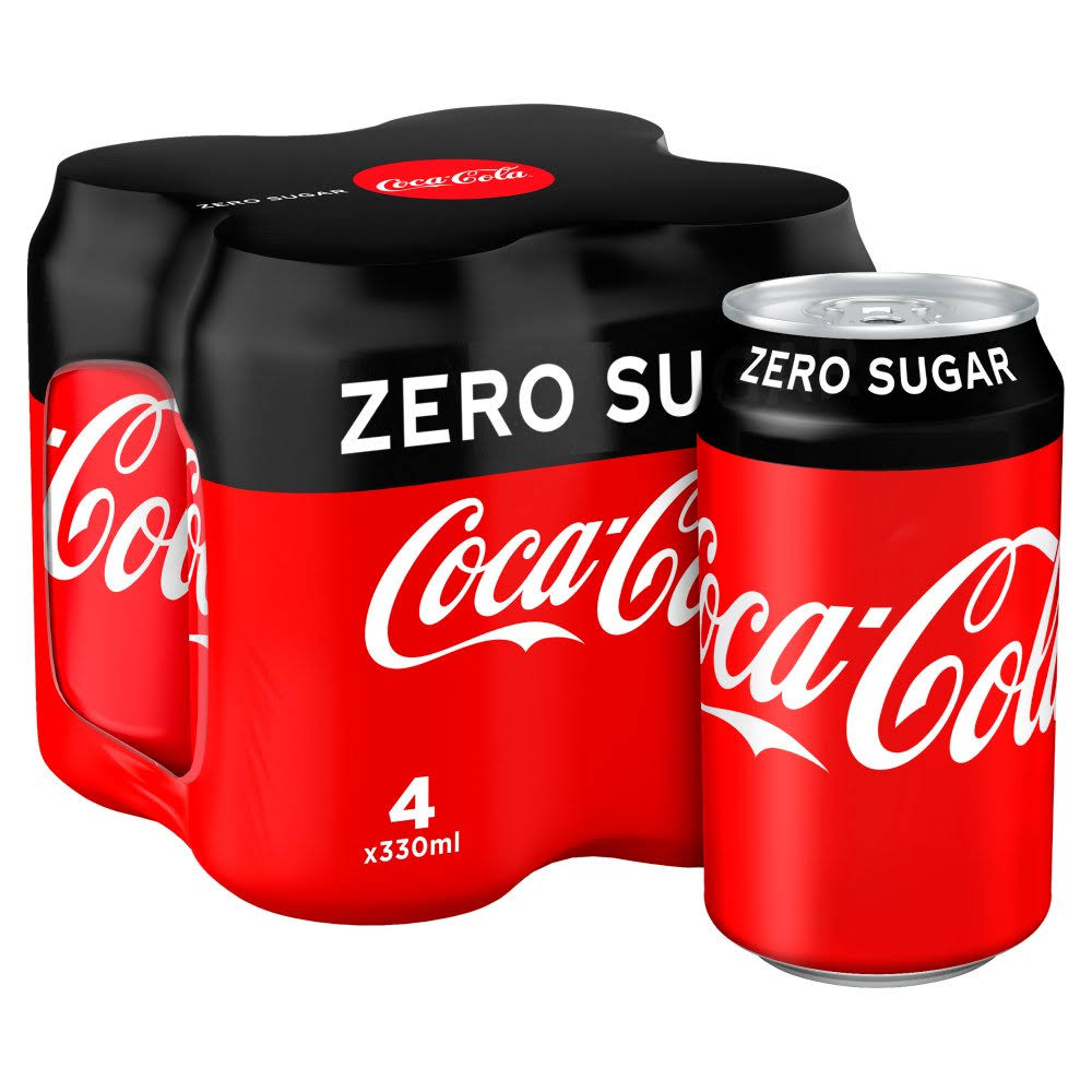 Coca-Cola Zero Sugar Soda - 330ml, x4