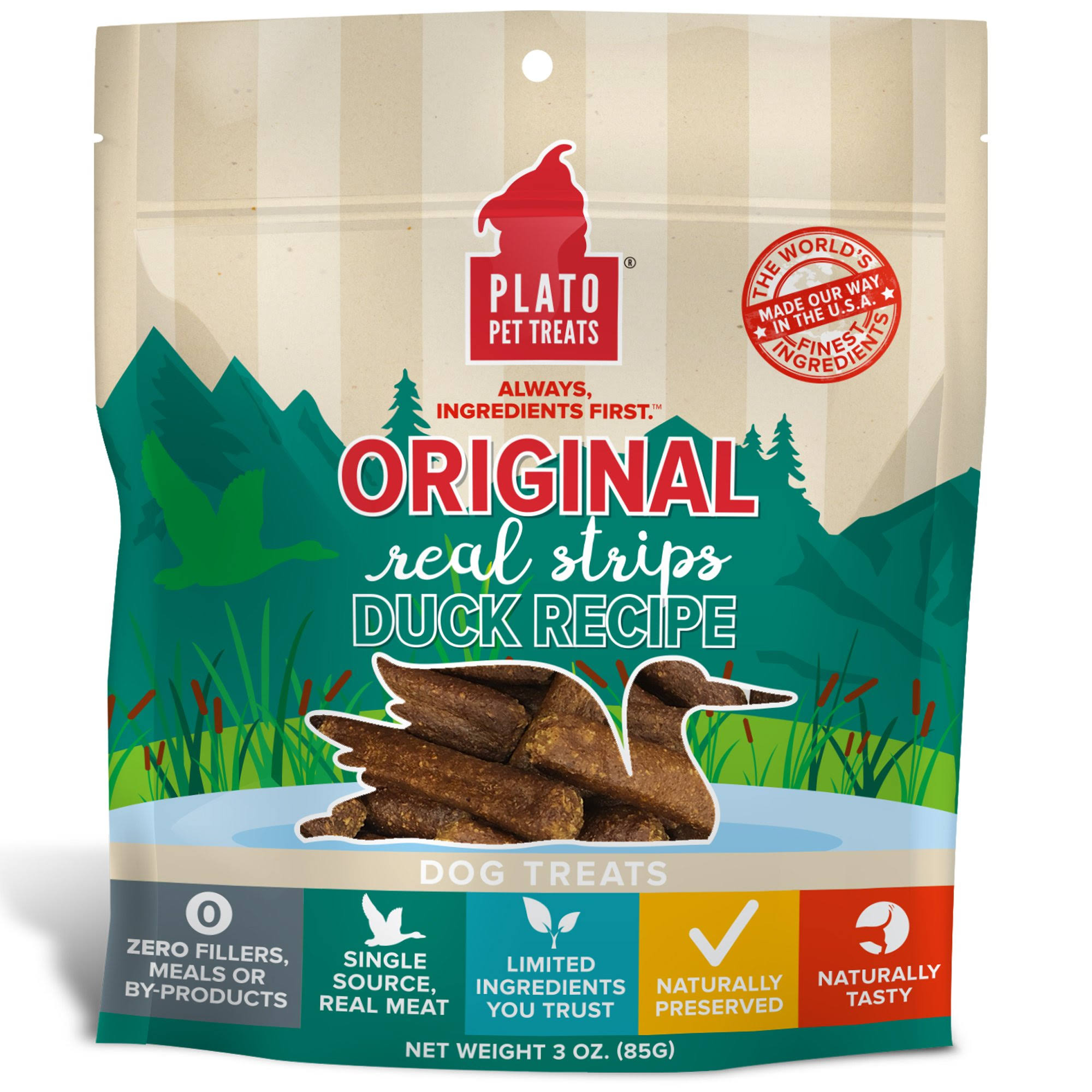 Plato Original Real Strips Duck Recipe Dog Treats, 3 oz.