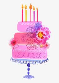 Painted pink birthday cake Hand Painted Pink Birthday Cake Free PNG Image