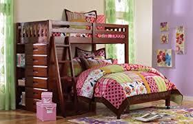 amazon com twin over full loft bed in merlot finish kitchen u0026 dining