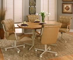 Armchairs : Side Chairs With Casters Padded Kitchen Chairs On ...
