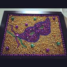 Burlap Mardi Gras Door Decorations by Mardi Gras Bead Mosaic Diy 11x14 Frame Cut Out Your Beads Trace