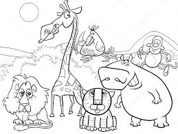 Black And White Cartoon Illustration Of Scene With Wild Safari Animals Characters Group For Coloring Book Vector By Izakowski
