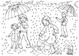 Printable Rain For Kids And All Ages Weat 51446 Within Weather Coloring Pages