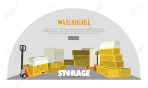 Warehouse Storage Web Banner With Boxes Unit Of Interior