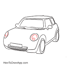 Mini cooper drawing step by step