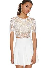 sale white short sleeve hollow crop top shop the sale at