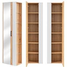 badezimmer hochschrank mit seitenregal und spiegel matera 56 white matt weiß artisan eiche nb b h t ca 45 170 30cm