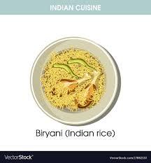 biryani indian cuisine indian cuisine biryani rice traditional dish food vector image