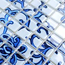 glass mosaic blue and white tile backsplash kitchen