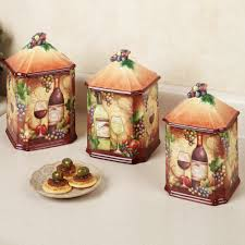 Wine Grapes Theme Ceramic Kitchen Canisters For Accessories Ideas