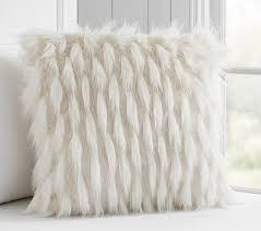 high low faux fur decorative pillow pottery barn kids