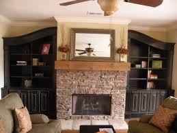 Black Built In Bookcase And Cabinet With Doors Around Rustic Fireplace 15 Inspiring Designs Ideas
