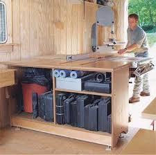 One Table Many Uses The Outfeed Not Only Provides Support For Tablesaw But It Also Stores Power Tools And Other Materials Shop Vacuum Can