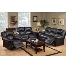 3PC Modern Black Bonded Leather Motion Reclining Sofa Loveseat Glider Recliner Chair Set For Living Room