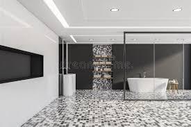 grau und mosaikbadezimmer badewanne waschbecken und regal
