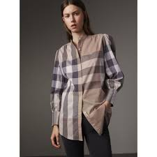 grandad collar check cotton tunic shirt in pale stone women