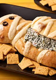 Puking Pumpkin Guacamole Dip by Halloween Mummy Spinach Dip Bake This Fun Mummy Shape Bread