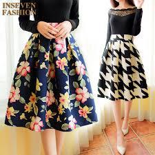 2016 Spring New Floral Print Midi Skirt Women Vintage Fashion Ladies High Waist Knee Length