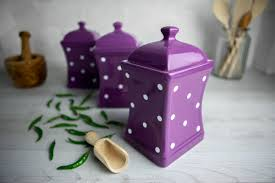 Ceramic Kitchen Canister Sets Purple And White Polka Dot Pottery Handmade Painted Large Ceramic Kitchen Storage Jar Set Canister Set