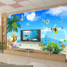 High Quality Large Custom Wall Painting 3D Creative Fish Tank Sea View Art Wallpaper For Bedroom