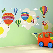 Amaonm Removable Creative 3D Hot Air Balloon Aircraft And Smile Clouds Wall Decals Kids Room