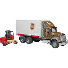 100 Ups Truck Toy Mack Granite UPS Logistics Vehicle Incl Truckmounted Forklift