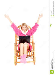 100 Rocking Chair Exercise Woman Sit In With Hands Up Stock Photo Image Of